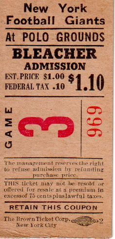 A https://www.facebook.com/GogelAuto RePin -    NY Giants Ticket 1940's by goggle5, via Flickr Vintage / Old NYC     Please stop by and like us on FB! Gogel Auto Sales, Rt10, East Hanover. https://www.facebook.com/GogelAuto