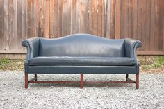 Vintage Navy Leather Camelback Sofa