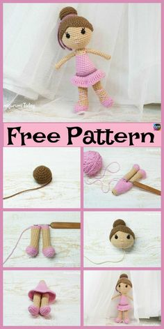 Mesmerizing Crochet an Amigurumi Rabbit Ideas. Lovely Crochet an Amigurumi Rabbit Ideas. Crochet Pattern Free, Doll Amigurumi Free Pattern, Crochet Amigurumi Free Patterns, Amigurumi Doll, Crochet Toys, Easy Crochet, Crochet Doll Clothes, Knitted Dolls, Ballerina Doll