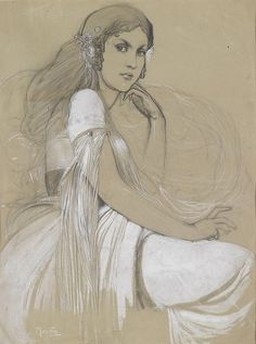 The artist's daughter Jaroslava, Alphonse Mucha - Art Nouveau Art Nouveau, Alphonse Mucha Art, Gustav Klimt, Cool Artwork, Figurative Art, Oeuvre D'art, New Art, Vintage Posters, Les Oeuvres