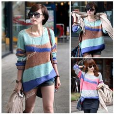 Pullover Style Round Neck Splicing Stripe Knitwear Knitted Sweater Shirt w/ Long Sleeves f Women Lady NWK-107535