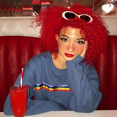 How cute is this jumper? 🍎 Get it at and use my discount code Dying Your Hair, Dye My Hair, Curly Hair Styles, Natural Hair Styles, Dyed Natural Hair, Sleek Ponytail, Coloured Hair, Aesthetic Hair, Look Cool