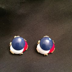 Vintage clip-on earrings!  RED/WHITE/BLUE What a magnificent pair of earrings 🎉 Very elegant!  Perfect condition- these look like they have never been worn!  Purchased at an Estate Sale, they were in the jewelry I purchased for myself! Jewelry Earrings