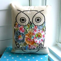 Owl pillow stuffed owl  fabric scrap pillow by tracyBdesigns, $18.00  <3