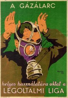Hollós Endre: A gázálarc helyes használatára oktat a Légoltalmi Liga (1939)