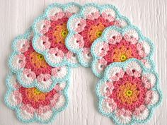 Crochet Pattern Tutorial Flower Coaster PDF ENGLISH por ColornCream