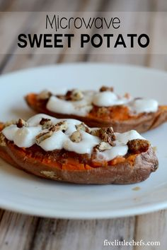 This Microwave Baked Sweet Potato recipe is easy and quick to make not just for Thanksgiving but for any time of the year. One sweet potato can serve 2 people. This is a great last minute side dish with amazing results! fivelittlechefs.com