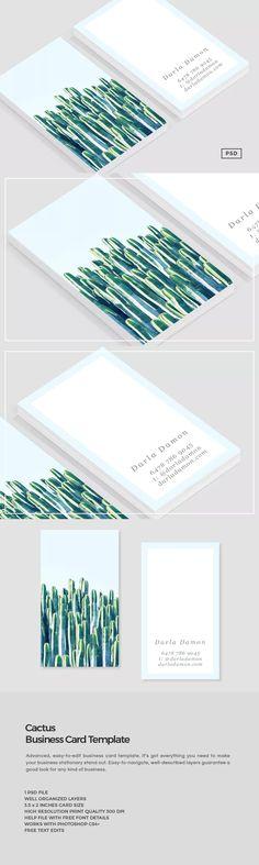 Cactus Business Card Template PSD