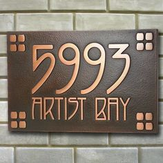 American Craftsman Business Plaque Bungalow, Mission, Ranch House Numbers Arts and Crafts font size inches Craftsman style house numbers. This is perfect for our house!