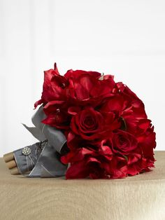 gray and red wedding  great shade of gray, wedding flower bouquet, bridal bouquet, wedding flowers, add pic source on comment and we will update it. www.myfloweraffair.com can create this beautiful wedding flower look.