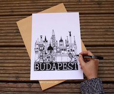 City Sketch Budapest, Wall art, wall decor, Black and White Art Print White Art, Black And White, City Sketch, Wall Decor, Wall Art, Budapest, Bullet Journal, Art Prints, Photography