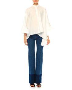 -666T Valentino  Ruffled Cotton Poncho Blouse, White (Bianco) Mid-Rise Straight-Leg Jeans, Blue