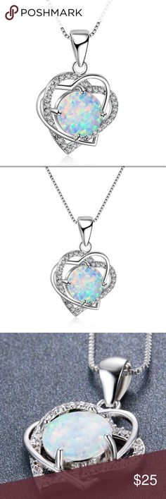 """Double heart opal necklace silver chain gift box 100% Brand New Pendant Metal: 925 sterling silver. Lab created WHITE Opal. Dainty silver chain approximately 18 inches long with an 2"""" extender chain. Very pretty necklace!  Will come with a gift box. bbstyle1541 Jewelry Necklaces"""