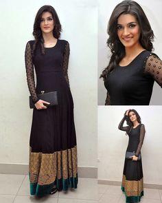 Kriti Sanon Black Net Long Gown 36187