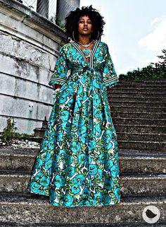 Ankara Maxi Dress, African Maxi Dresses, Latest African Fashion Dresses, African Dresses For Women, African Print Fashion, African Wear, African Attire, Kimono Style Dress, Kimono Fashion