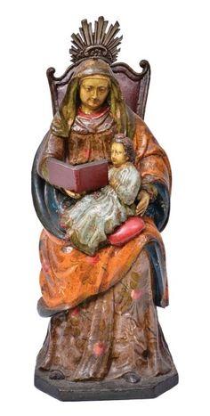 SANT'ANNA MESTRA. Magnífico e raríssimo grupo sacro em madeira policromada. Alt.: 44cm. Minas, séc. XVIII. Base R$2.500,00.