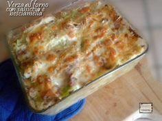 Verza al forno con salsiccia e besciamella -  Cabbage baked with sausage and sauce
