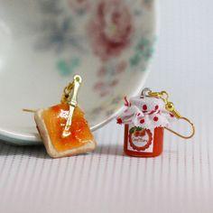 Breakfast Earrings Apricot Jam Earrings Miniature by Dleesnow