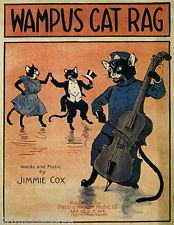 WAMPUS CAT RAG PLAYING VIOLONCELLO FUN COUPLE CATS DANCING VINTAGE POSTER REPRO