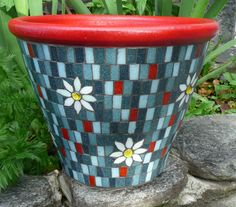 2 Big Gorgeous MOSAIC Denim Daisy Flower Pots / by EsthersMosaics, $214.70