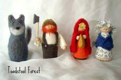 Little Red Riding Hood Peg Doll Play Set ~ Waldorf Story Telling ~ Fairy Tale Set ~ Wolf, Wood Cutter, Grandma ~ Large Peg Dolls