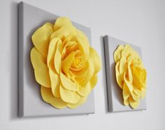 Decoración casera de cocina amarillo y gris, paneles de pared amarillo y gris brillante, amarillo limón Rose conjunto de dos, gris y amarillo Casa Decor vivero