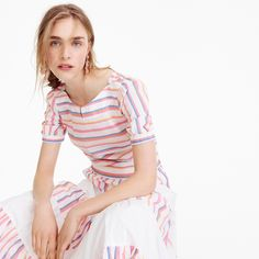 Cropped cinched-waist top in sorbet stripe