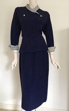 Elegant 50's Navy Tailored Suit / Bombshell / Medium Large