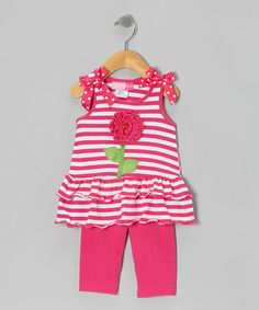 Take a look at this Pink Flower Bow Tunic & Leggings - Infant, Toddler & Girls by Good Lad on #zulily today!
