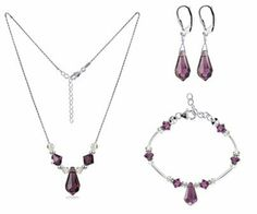 "Sterling Silver Amethyst Crystal Bracelet Earrings with 20 inch Necklace Jewelry Set Made with Swarovski Elements Gem Avenue. $54.99. Made in .925 Sterling Silver. Necklace and Bracelet is Lobster Clasp. Made with Amethyst Swarovski Elements. Gem Avenue SKU # SCST084. Set with Necklace of size 16"" 18"" 20"" 22"" 24"""