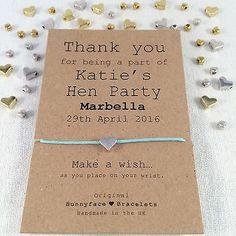 *Hen Party* Wish Bracelet Friendship Band Charm Card Gift Keepsake friend bride in Jewellery & Watches, Costume Jewellery, Bracelets | eBay