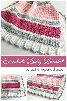 Free Crochet Pattern: Essentials Baby Blanket | Pattern Paradise