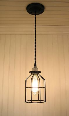 Auburn. Industrial Cage Inspired PENDANT Light with Edison Bulb