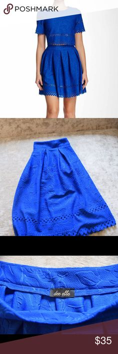 Laser cut skater skirt with matching crop top Gorgeous blue skirt with design. Side zip closure with matching crop top Anthropologie Skirts