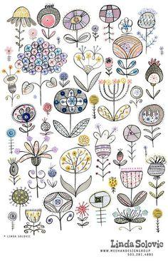 Doodle Patterns 560909328585132326 - Floral pattern designed by Linda Solovic Source by laurencevingtie Doodle Patterns, Zentangle Patterns, Embroidery Patterns, Zentangles, Folk Embroidery, Doodle Drawings, Doodle Art, Easy Drawings, Zen Doodle