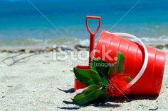 Kiwiana Summer: Bucket and Spade with Pohutakawa Royalty Free Stock Photo