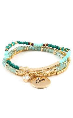 3 Piece Love Bracelet Set in Mint & Gold ♡