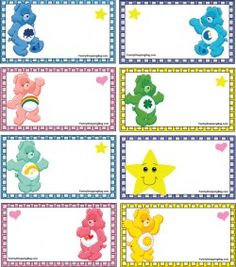 Care Bear Tags, Care Bears, Gift Tags - Free Printable