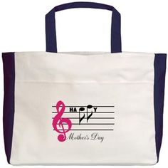 Happy Mother's Day -- music staff Beach Tote