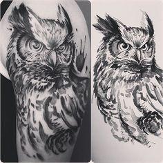#owl #owltattoo #watercolortttoo #watercolor #brushpainting #tattoo #ink #inkmagazine @jessyendotcom @camsupply @h2oceanproteam @officialh2ocean @eternalink