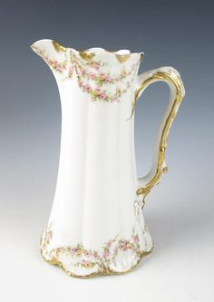 """Haviland Schleiger 145 RARE LARGE 8.75"""" Tall PITCHER Jug Limoges Porcelain Roses"""