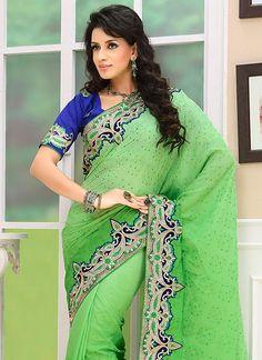 Alluring Zari Embroidered Chiffon Saree
