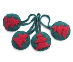 Green Christmas padded hanging baubles 4 by TheFeminineTouch, $15.00