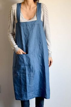 Japanese linen Apron. Soft blue linen. Handmade by FAROstore. USA and Canada Shipping.