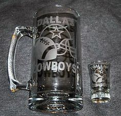 Dallas Cowboys Beer Mug Shot Glass Set for sale online Dallas Cowboys Decor, Etched Gifts, Vinyl Tumblers, Glitter Tumblers, Glitter Cups, Wine Bottle Glasses, Wine Bottles, Etched Glassware, Shot Glass Set