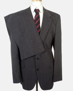 euc Kingsridge gray 100% Wool Men's 2 Pc Business Suit dapper SZ 46 L #Kingsridge #TwoButton
