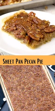 Pan Pecan Pie When you need a pecan pie for a crowd, this is it. This pie is not as thick as a regular pecan pie and it's so tasty.When you need a pecan pie for a crowd, this is it. This pie is not as thick as a regular pecan pie and it's so tasty. Dessert Diet, Bon Dessert, Pecan Recipes, Sweet Recipes, Cooking Recipes, Pie Recipes, Recipies, Chicken Recipes, Cooking Rice