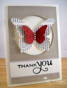 Stampin' Up! Butterfly Embosslits ♥ the use of the newsprint cardstock. Works so well with the red!