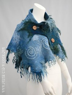 Felted clothing- Felt Stormy Sky Wrap - felt shawl -big scarf - Swirls In The Sky.