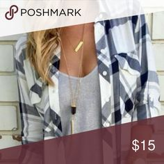 Brand new ! Plaid buttom up Grey/black/white SMALL! Tops Button Down Shirts